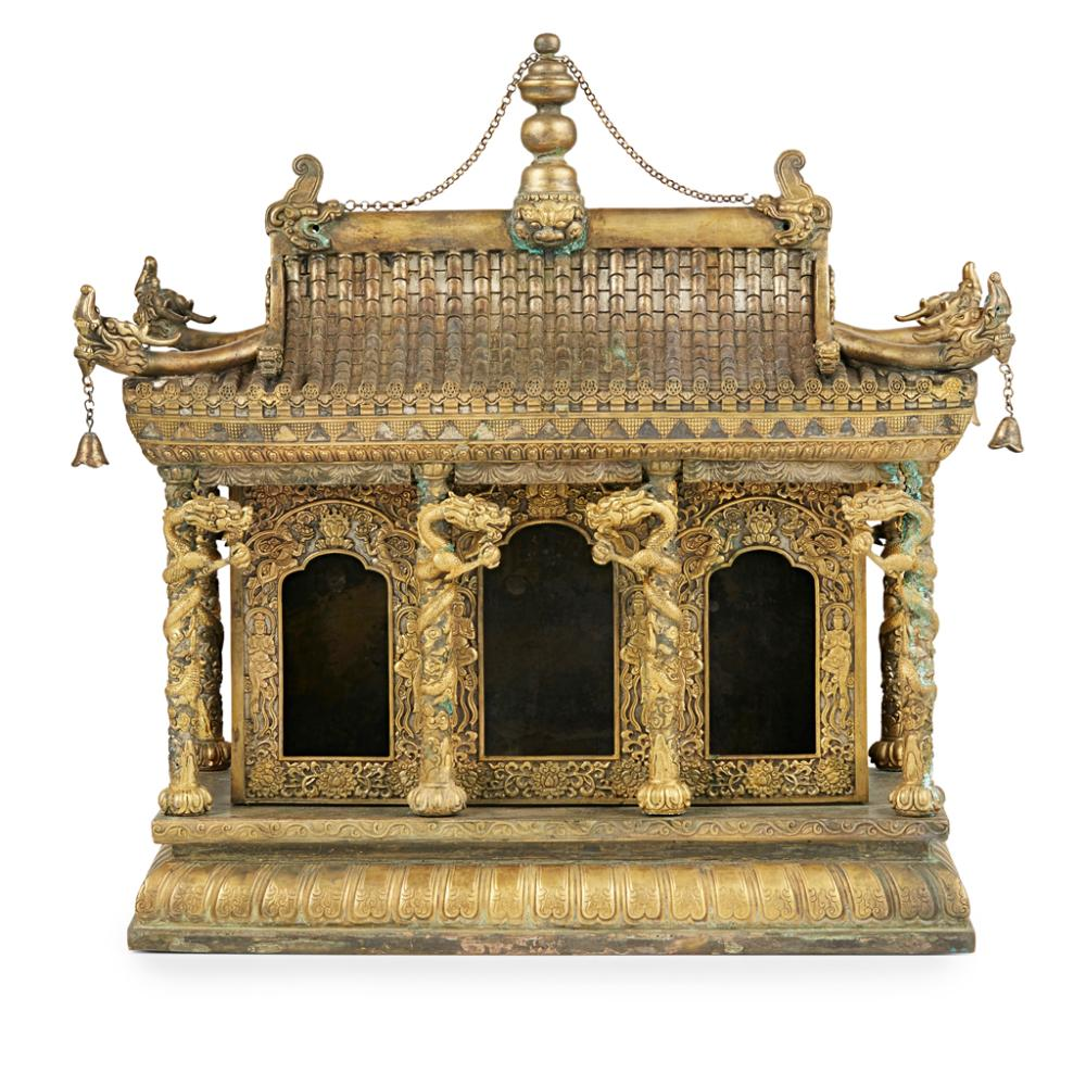 GILT-BRONZE MODEL OF A BUDDHIST SHRINE 41cm wide
