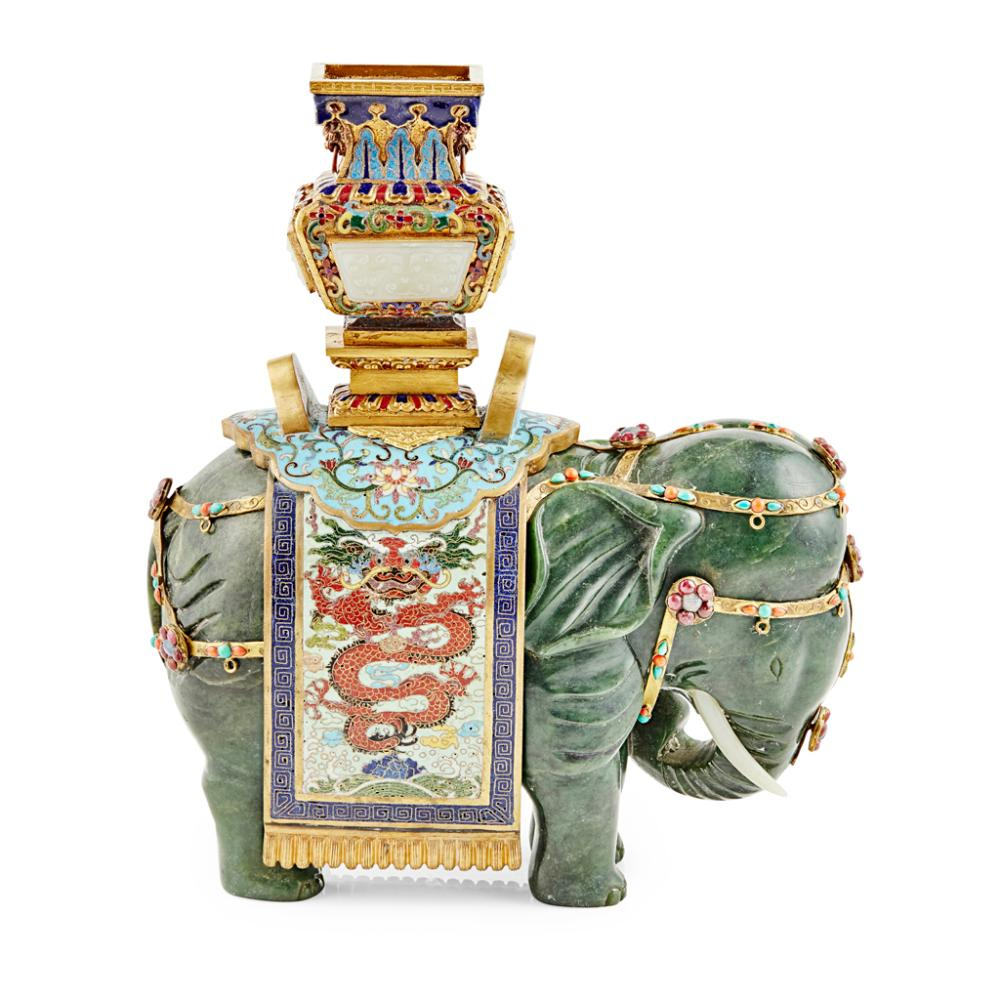 CLOISONNÉ ENAMEL AND SPINACH-GREEN JADE 'ELEPHANT AND VASE' GROUP 23.5cm long