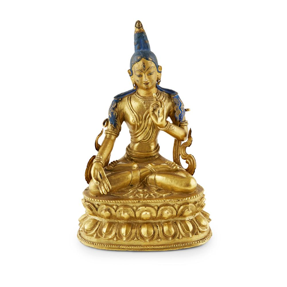 MONGOLIAN GILT-BRONZE SEATED FIGURE OF A TARA QING DYNASTY, 18TH CENTURY 17cm high