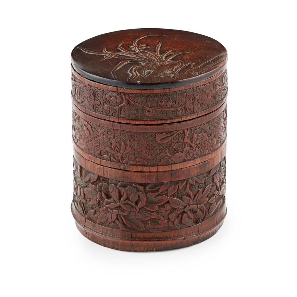 CARVED BAMBOO-VENEER HARDWOOD THREE-TIERED BOX AND COVER QING DYNASTY, 18TH/19TH CENTURY 18cm high