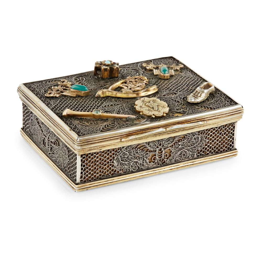 EXPORT SILVER FILIGREE BOX WITH RUSSIAN MOUNTS QING DYNASTY, CIRCA 1780 7.5cm wide