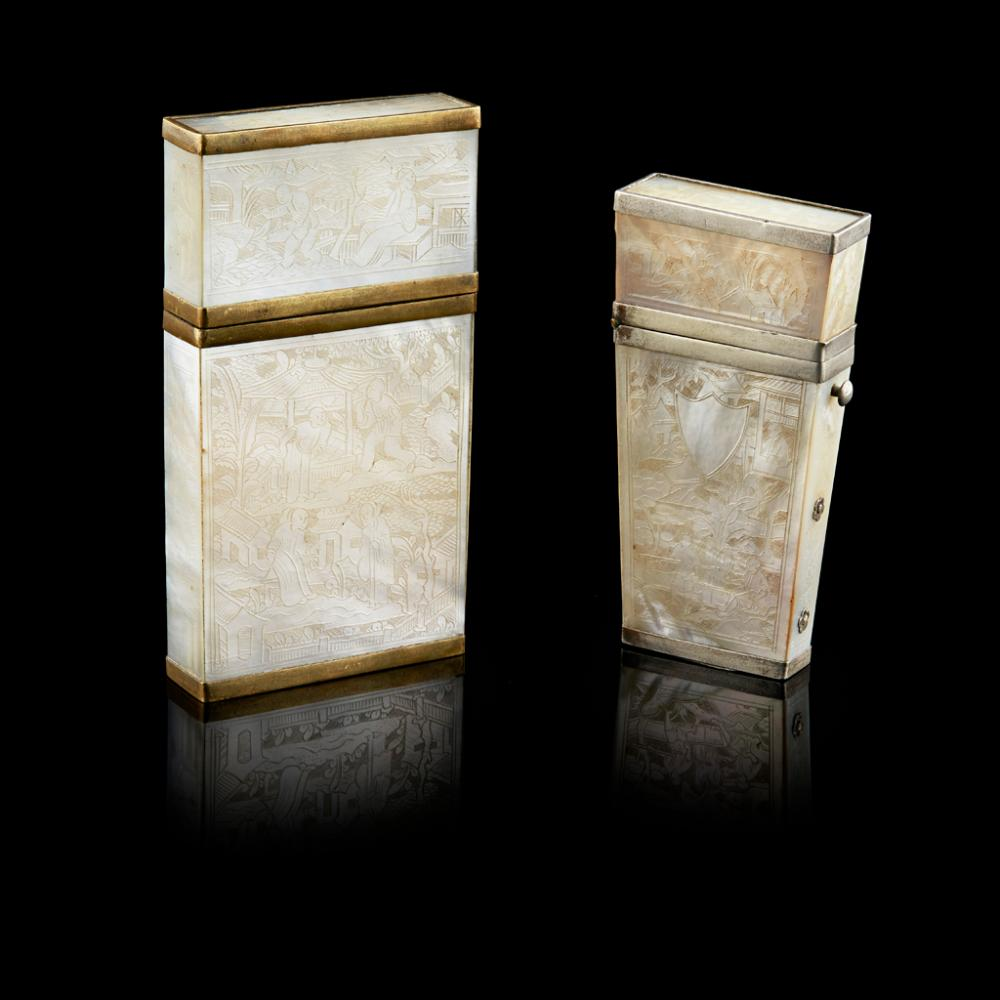 MOTHER-OF-PEARL CARD CASE AND ETUI QING DYNASTY, 19TH CENTURY largest 8.8cm high