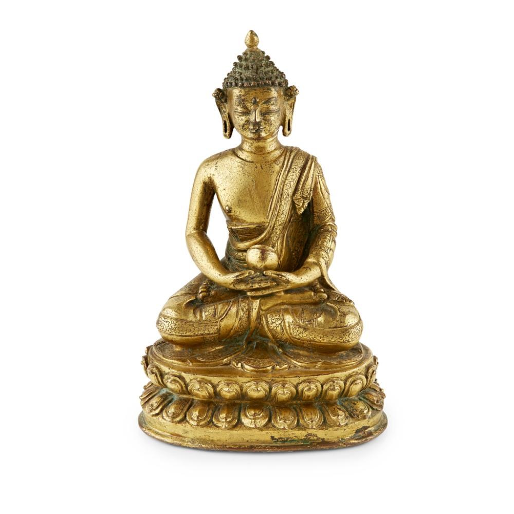 GILT-BRONZE MEDICINE BUDDHA 15TH CENTURY 20cm high