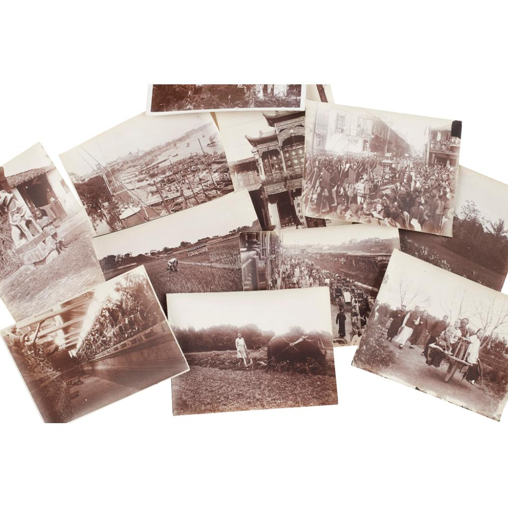 SET OF THIRTY-SIX BLACK AND WHITE PHOTOGRAPHS OF SHANGHAI AND SURROUNDS TAKEN CIRCA 1910 BY ALICE WARE 7cm x 10cm