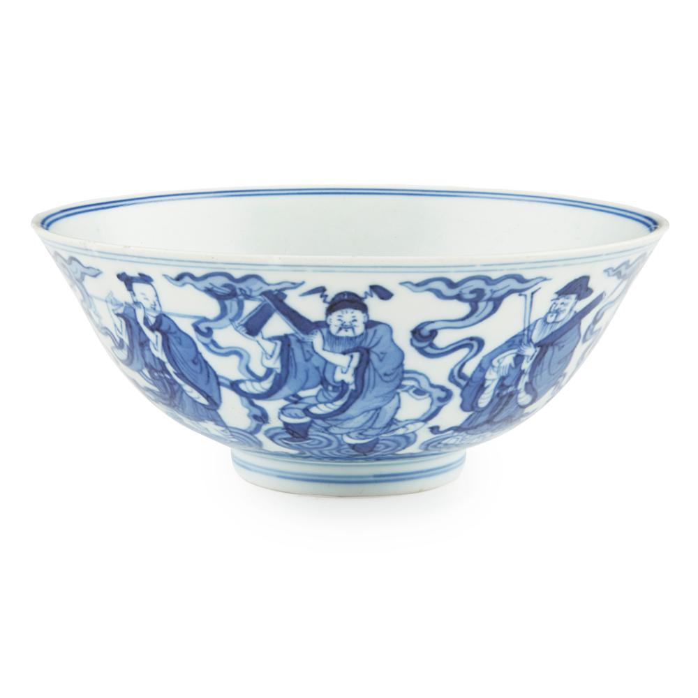 BLUE AND WHITE 'EIGHT IMMORTALS' BOWL RONG YIN TANG ZHI MARK, QIANLONG PERIOD 15cm diameter