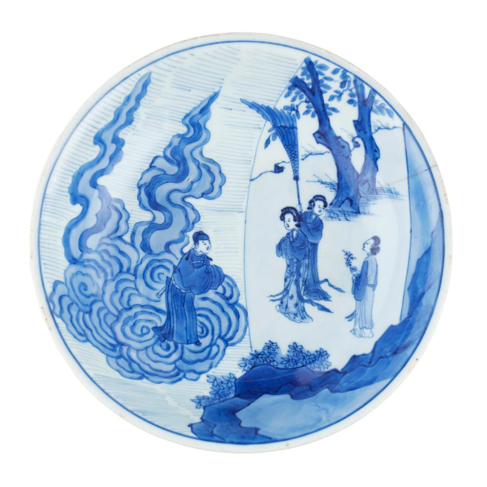 BLUE AND WHITE DISH KANGXI SIX-CHARACTER MARK AND OF THE PERIOD 18.5cm diameter