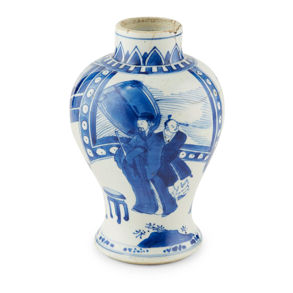 SMALL BLUE AND WHITE 'BIRTHDAY CELEBRATION' BALUSTER VASE KANGXI PERIOD 18.5cm high