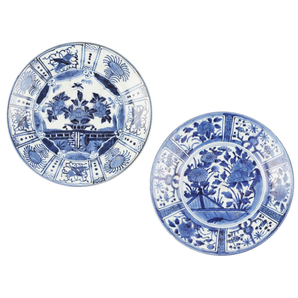 TWO ARITA BLUE AND WHITE 'KRAAK' DISHES EDO PERIOD largest 32cm diameter