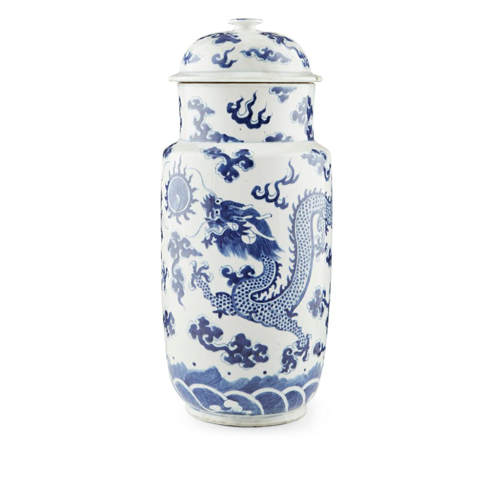 BLUE AND WHITE 'DRAGON' VASE AND COVER QING DYNASTY, 19TH CENTURY 45.5cm high