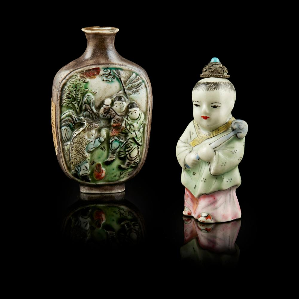 TWO FAMILLE VERTE MOULDED SNUFF BOTTLES LATE QING DYNASTY largest 7.6cm high