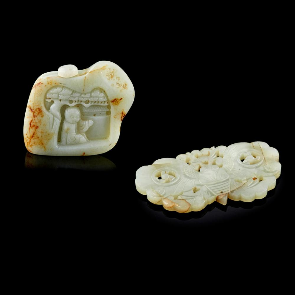 <sup>Y</sup> CELADON JADE PEBBLE-FORM SNUFF BOTTLE QING DYNASTY, 19TH CENTURY largest 8.4cm wide