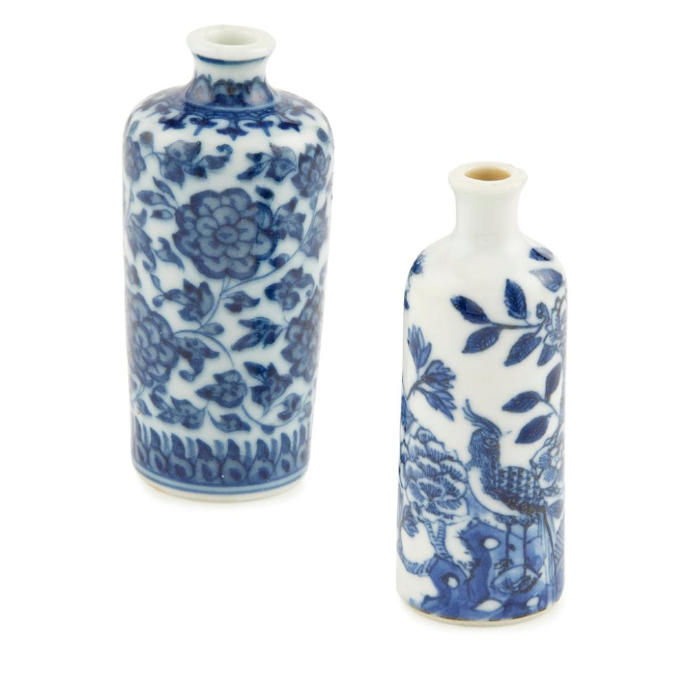 BLUE AND WHITE 'LOTUS' SNUFF BOTTLE QIANLONG PERIOD largest 7cm high