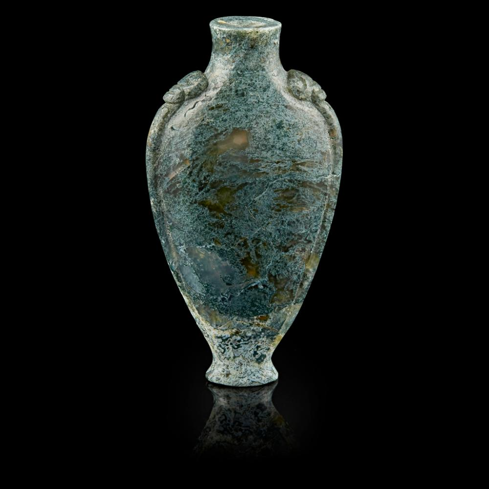 MOSS AGATE SNUFF BOTTLE LATE QING DYNASTY/REPUBLIC PERIOD 7.6cm high