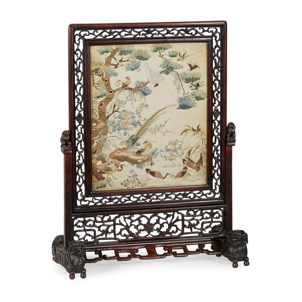 CANTON EMBROIDERED SILK 'HUNDRED BIRDS' PANEL QING DYNASTY, 19TH CENTURY panel 43cm x 35cm