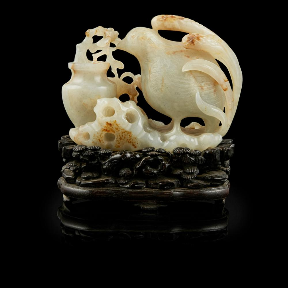 CARVED JADE 'QUAIL AND VASE' GROUP 10.3cm wide