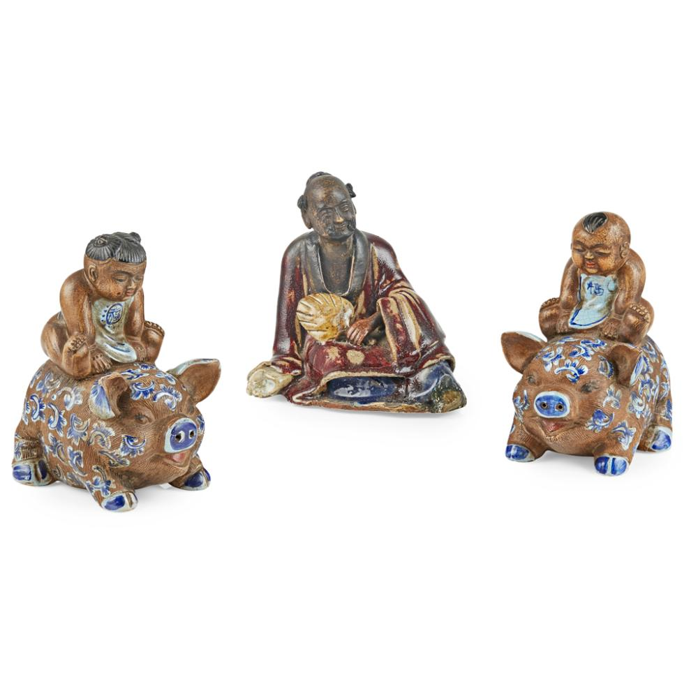 THREE STONEWARE FIGURES REPUBLIC PERIOD largest 13cm high