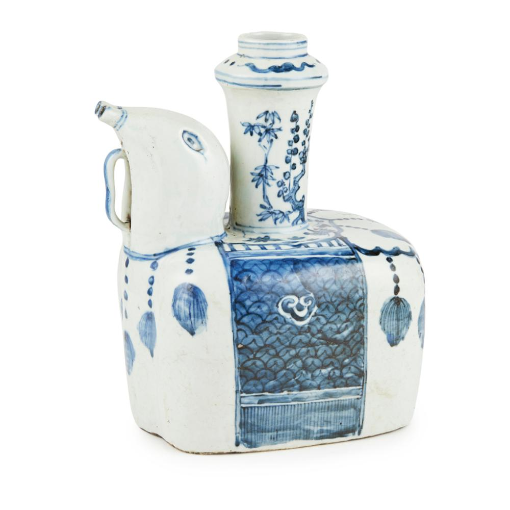 BLUE AND WHITE 'ELEPHANT' KENDI 24cm high