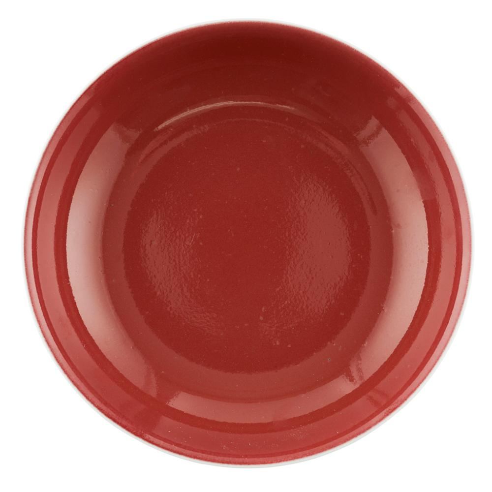 SACRIFICIAL-RED-GLAZED DISH DATED 1954 19cm diameter