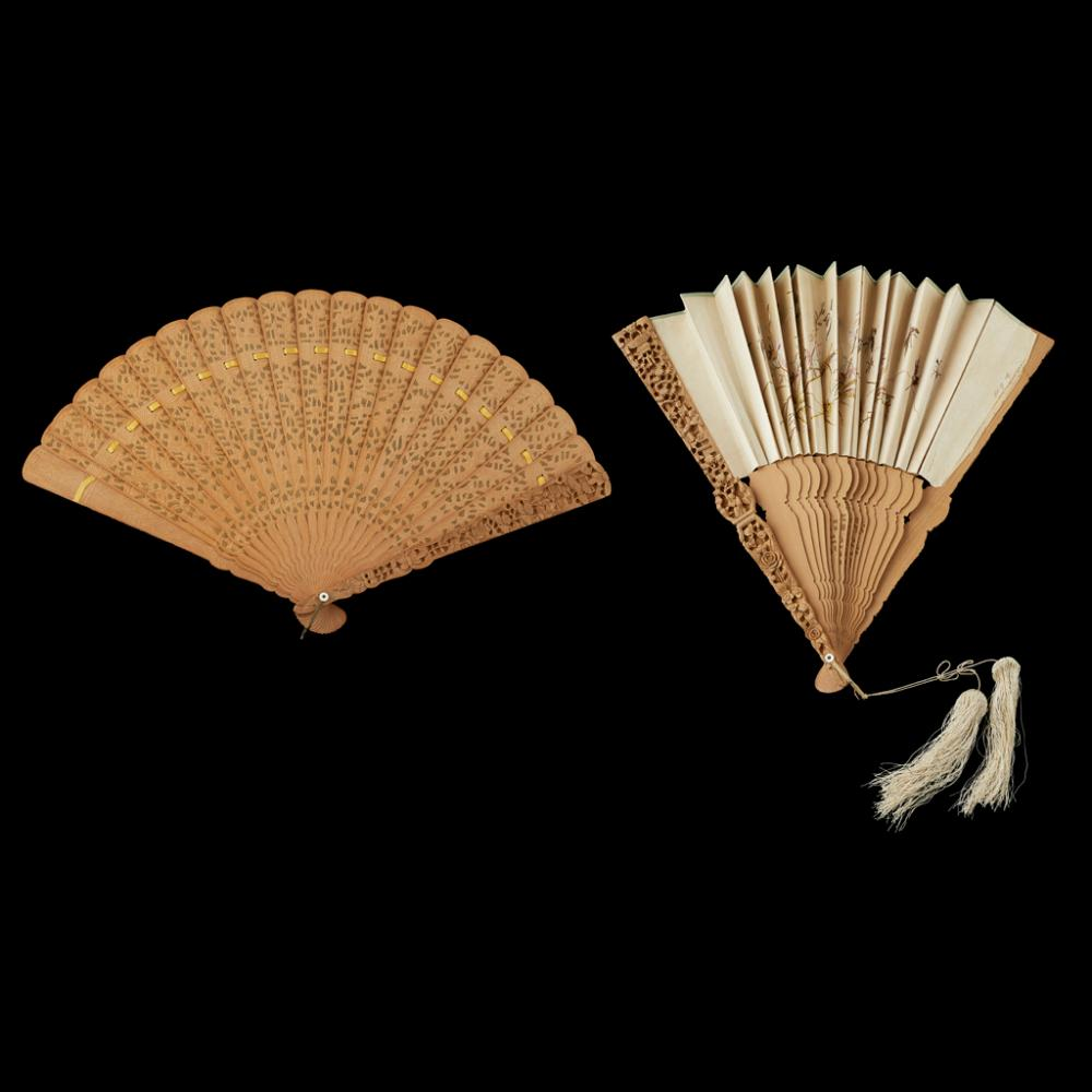 TWO SANDALWOOD FANS QING DYNASTY, 19TH CENTURY largest 52.5cm wide