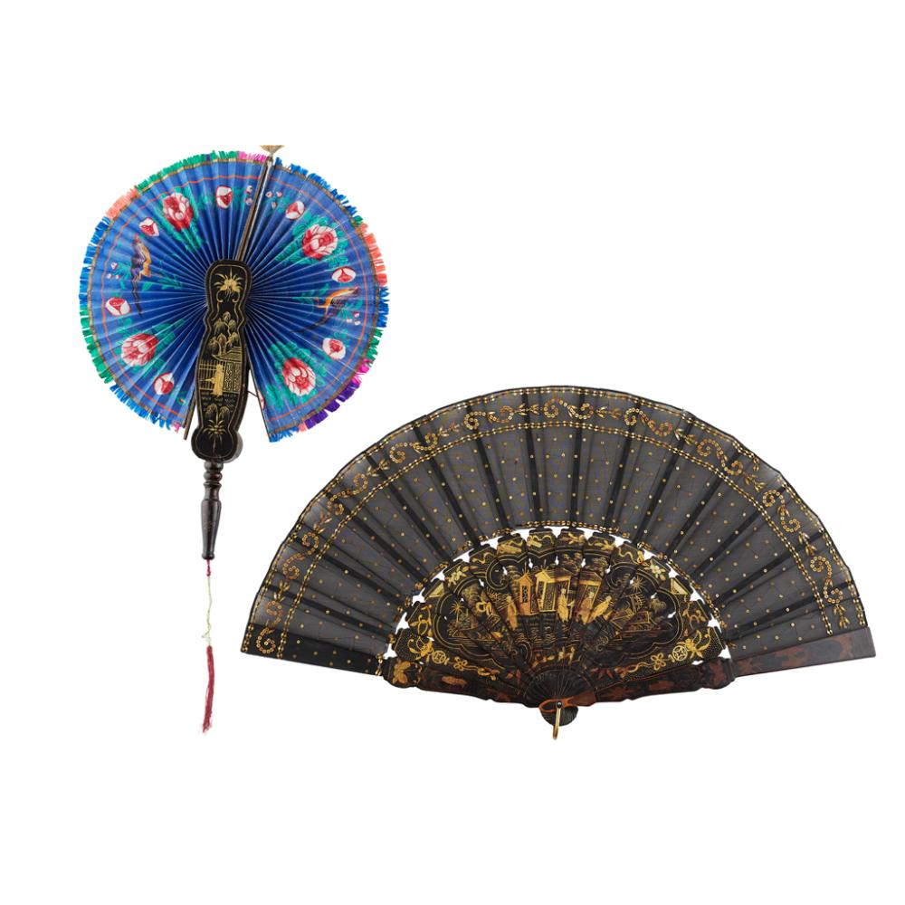 PAINTED COCKADE FAN QING DYNASTY, 19TH CENTURY largest 51cm wide