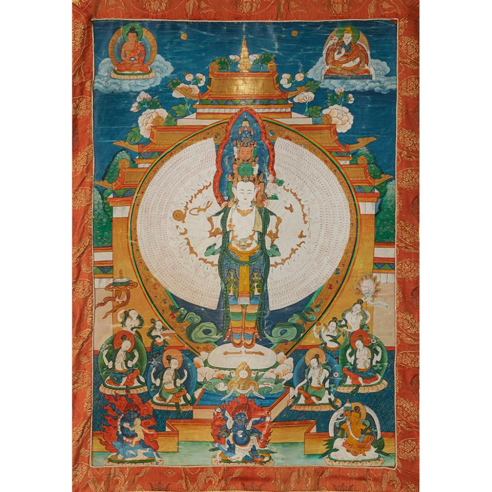 THANGKA DEPICTING ELEVEN-HEADED AND THOUSAND-ARMED AVALOKITESHVARA SAHASRABHUJA QING DYNASTY, 19TH CENTURY 48cm x 39cm (sight)