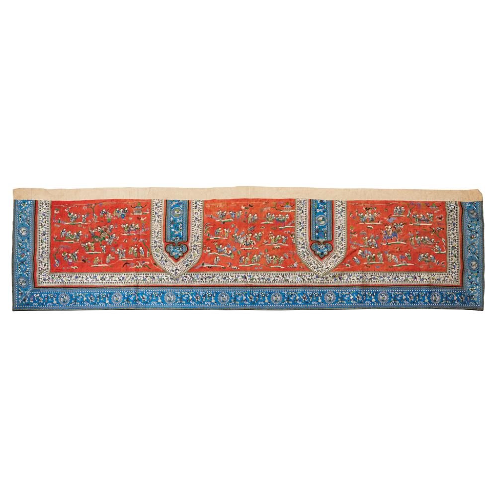 EMBROIDERED SILK 'HUNDRED BOYS' BANNER QING DYNASTY, 19TH CENTURY 192cm long