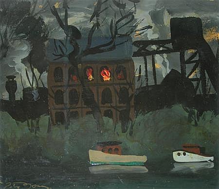 PETER JONES (BRITISH 1917-2008) GASWORKS, MAIDENHEAD, C. 1944 21cm x 25cm (8.25in x 10in)