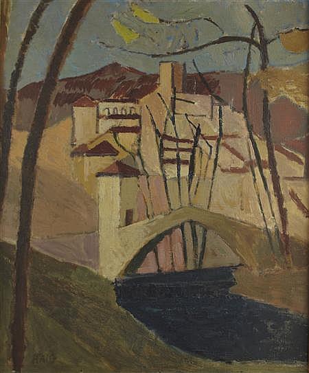 EARL HAIG O.B.E., R.S.A (SCOTTISH 1918-2009) ITALIAN HILLTOP TOWN 74cm x 61cm (29in x 24in)