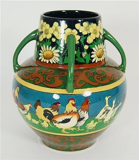 FREDERICK RHEAD (1880–1942) FOR WILEMAN & CO FOLEY 'INTARSIO' FOUR-HANDLED VASE, CIRCA 1900 23cm high
