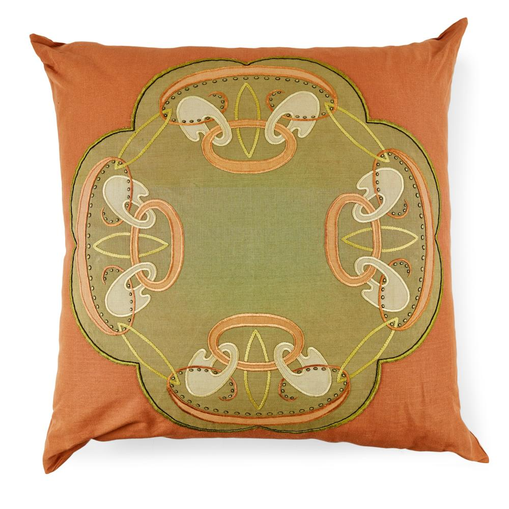SCOTTISH LARGE EMBROIDERED CUSHION, THE MATERIAL CIRCA 1900