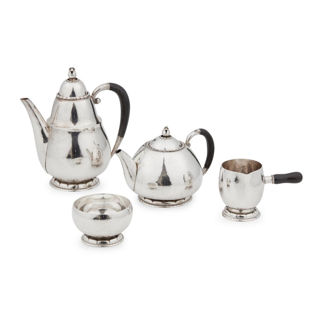 GEORG JENSEN (1866-1935) MATCHED FOUR-PIECE COFFEE SERVICE, 1920S