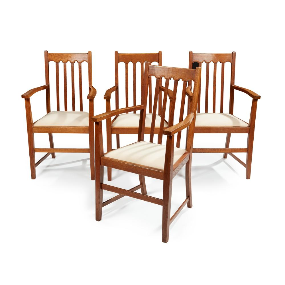 ENGLISH, MANNER OF LIBERTY & CO., LONDON SET OF FOUR ARTS & CRAFTS ARMCHAIRS, CIRCA 1900