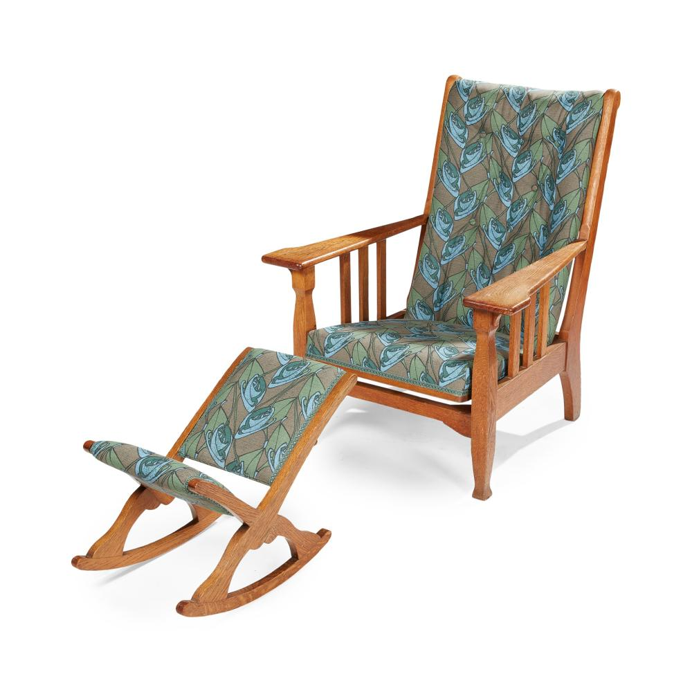 MANNER OF LIBERTY & CO., LONDON ARTS & CRAFTS RECLINING ARMCHAIR, AND ASSOCIATED STOOL, CIRCA 1910