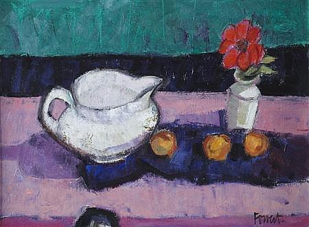 ARCHIE FORREST (SCOTTISH B. 1950) ANEMONE AND JUG 30cm x 38.5cm (11.7in x 15in)