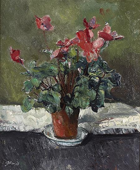 JOHN BOYD R.P., R.G.I. (SCOTTISH 1940-2001) STILL LIFE WITH CYCLAMEN 59.5cm x 49.5cm (23.2in x 19.3in)