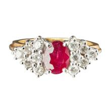 A ruby and diamond set ring Ring size: Q