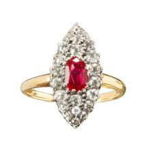 A ruby and diamond ring Ring size: L/M