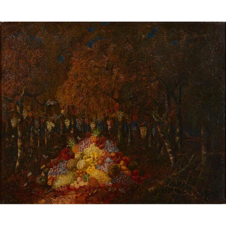 THOMAS WHITTLE THE ELDER (BRITISH 1803-1887) STILL-LIFE IN THE FOREST 70cm x 89.5cm (27.5in x 32.25in)