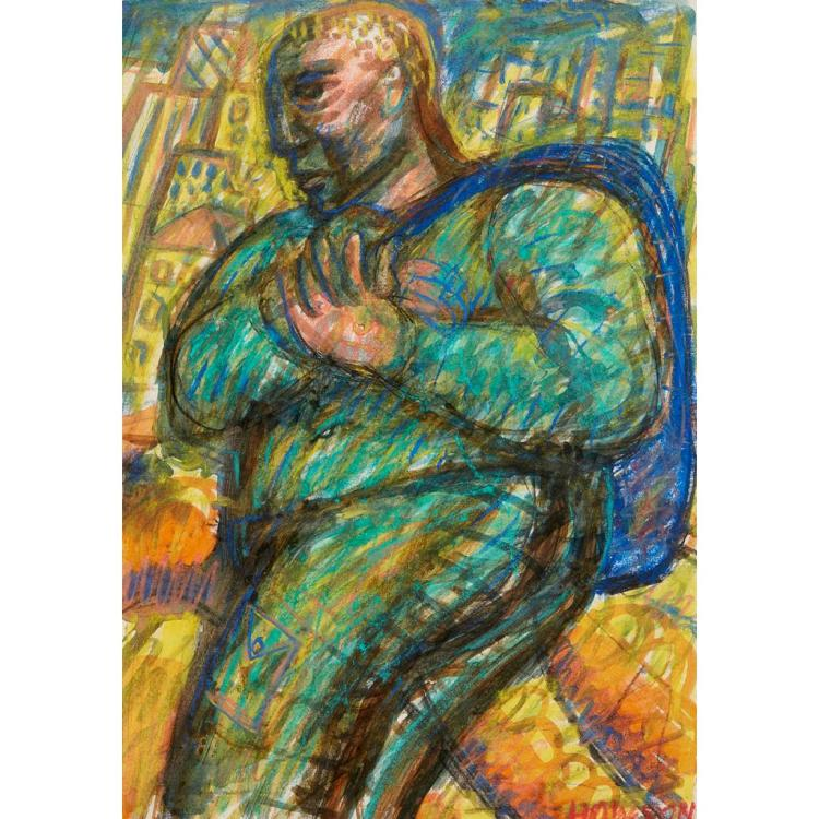 [§] PETER HOWSON (SCOTTISH B. 1958) FIGURE WITH BLUE BAG 41cm x 28.5cm (16.25in x 11.25in)