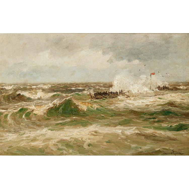 [§] EINAR FROM (NORWEGIAN 1872-1972) STORMY SEAS 33cm x 50cm (13in x 19.75in)