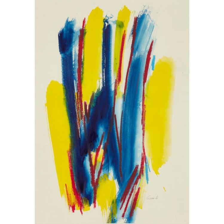 [§] WILLIAM GEAR R.A., F.R.S.A, R.B.S.A. (SCOTTISH 1915-1997) BLUE-YELLOW VERTICAL - NOVEMBER 1966 55cm x 38cm (21.75in x 15in)