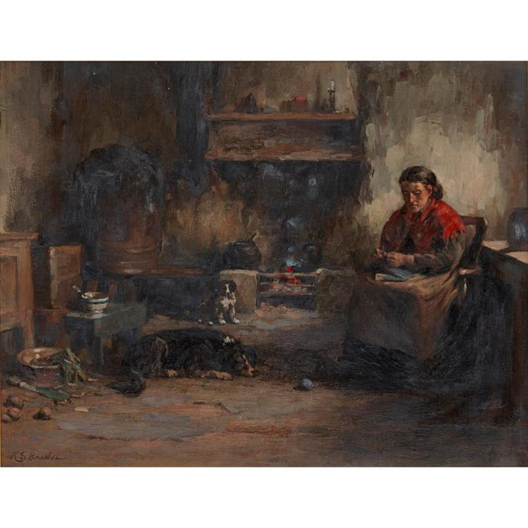 KATE S. BRODIE (BRITISH 1853-1913) BY THE HEARTH 34cm x 44cm (13.25in x 17.25in)
