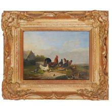 FRANZ VON SEVERDONCK (BELGIAN 1809-1889) CHICKENS AND DUCKS FEEDING ON A RIVERBANK 17cm x 23cm (6.75in x 9in) and a companion, a pai...