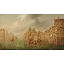 JAMES SALT (BRITISH 1850-1903) VENETIAN VIEW 46cm x 81cm (18in x 32in)