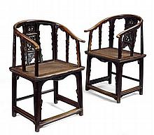 PAIR OF YUMU HORSESHOE-BACK ARMCHAIRS MING DYNASTY, 17TH CENTURY 60.5cm wide, 99cm high, 50cm deep