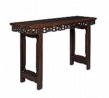 A HONGMU RECESSED LEG SIDE TABLE QING DYNASTY 155cm long, 89cm high, 45cm deep