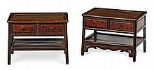 PAIR OF JICHIMU AND BURRWOOD LOW TABLES QING DYNASTY, 19TH CENTURY 47cm wide, 35cm high, 32cm deep