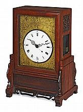 A GOOD CHINESE EXPORT ROSEWOOD MANTLE CLOCK QING DYNASTY, EARLY 19TH CENTURY 34cm wide, 50cm high, 26cm deep