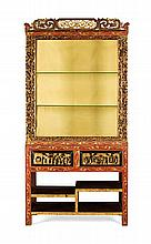 A RED STAINED AND GILT DISPLAY CABINET LATE QING / EARLY REPUBLIC 93cm wide, 186cm high, 34cm deep
