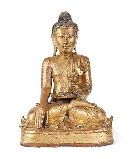 A GILT BRONZE FIGURE OF BUDDHA QING DYNASTY, 19TH CENTURY 44cm high